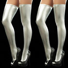 Women Wet Look PU Leather Hold-Ups Thigh High Stockings Sexy Stay-Up Leggings #W