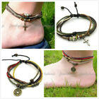Unisex Handmade Multi-color Cotton Hemp Anklet Charms Cross Peace Turtle & More image