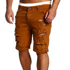 Mens Trousers Shorts Destroyed Ripped Denim Pants Slim Skinny Straight Jeans