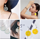 Внешний вид - Women Fashion Orange Lemon Acrylic Pendant Earrings Fruit Earrings Jewelry