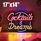 17''x14'' Cocktail Dream Real Glass Tube Neon Light Sign Tavern Beer Bar Pub