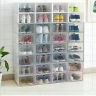 Foldable Storage Clear Plastic Shoe Box Set Stackable Home Tidy Organizer Boxes