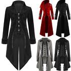 Mens Coat Long Jacket Gothic Steampunk Hooded Trench Aristocrat Regency Tailcoat