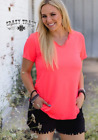 NEW! Crazy Train Coral Neon Butter Basic v-neck top tee blouse S M L XL
