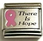 9mm Italian Charm Stainless Steel Breast Cancer Charms Pink Ribbon YOUR CHOICE