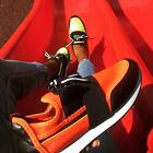 Cape Robbin LAKERS Neon Orange Black Faux Leather Stretch Colorblock Sneaker