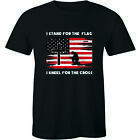 I Stand For The Flag I Kneel For The Cross Patriotic Christian Men's T-Shirt Tee image