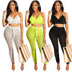2pcs Women Outfits Halter Backless Tops Big Net Casual Club Bodycon Beach Wear