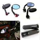 "Black Motorcycle 7/8"" Hand Grips Bar End Rearview Mirrors For Yamaha YZF R6 R3 $19.3 USD on eBay"