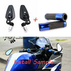 "BLACK HANDLE BAR END MIRRORS 7/8"" 22MM MOTORCYCLE GRIPS FOR 2019 Yamaha YZF R3 $8.5 USD on eBay"