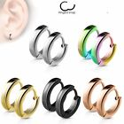 Stainless Steel Small Dome Hoop Huggie Earrings Pair 2.5 Mm Wide 20 Ga Men Women