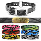 """Hunting Dog Pattern Name Collar 1"""" Strap Center Ring & 1"""" LG Brass Tag Plate"""