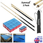 "2 x 57"" Hardwood SHORT POOL CUES STICK SET Billiard Snooker Cues ,13mm tip £17.59 GBP on eBay"