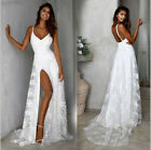 Summer Lace Chiffon Split Beach Wedding Dresses Spaghetti Straps Bridal Gowns фото