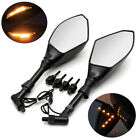 Clear Smoke LED Turn Signal Integrated Motorcycle Mirrors For Naked bikes 8/10mm