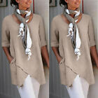 Womens Cross Design Half Sleeve Cotton And Linen Blouse Tops T Shirt With Pocket