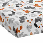 Bedtime Originals Acorn Fitted Crib Sheet - Gray, Animals, Woodland, Forest