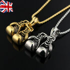 Gold Silver Plated Boxing Glove Sports Pendant Chain Necklace Mens Boys Gift Uk