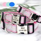 Personalised Dog Collar Bling Sequins & Nylon Name Engraved Free Blue Pink S M L