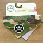 "Camouflage & Skull Bandana Dog Collar - XS/S 8-12"" Gray Nylon - Bond & Co - NWT"