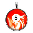 Number Five #5 Pool Ball Key Ring Necklace Cufflinks Tie Clip Ring Earrings $16.95 USD on eBay