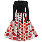 Ladies Retro Polka Dots Dress Dance Casual Long Sleeve Rockabilly Party Dresses