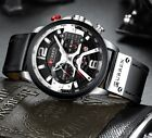 Casual Black Watches for Men Japanese Quartz Luxury Military Leather Wristwatch image