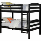 Twin Over Twin Bunk Beds for Kids Girls Boys Convertible Wood w/ Ladder & Rails