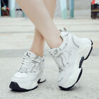 Womens 9cm Hidden Wedge Heel Fashion Lace Up Sneakers Athletic Casual Shoes Size