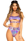 Roma purple shimmer buckled booty shorts set
