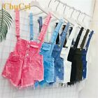 Women Pink Fashion Denim Distressed Ripped Short Jumpsuit Rompers For Girls