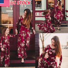 Family Matching Dress Mother Daughter Girls Floral Holiday Long Maxi Dress