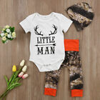 3pcs Newborn Kids Baby Boys Girls Cotton Romper Coming Home Outfits Clothing Set