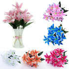 10 Heads Artificial Silk Lilies Fake Flowers Bridal Bouquet Wedding Home Decor
