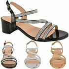 Womens+Ladies+Low+Block+Heel+Party+Wedding+Sandals+Diamante+Prom+Shoes+Strappy