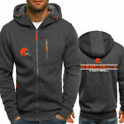 2019 Cleveland Browns Fans Hoodie Sporty Jacket Zipper Coat Autumn Sweater Tops $23.99 USD on eBay