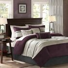 Modern 7pc Plum Purple & Grey Microsuede Comforter Set AND Decorative Pillows image