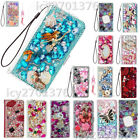 Flip Leather Phone Cases Bling diamonds stand wallet covers  2 straps For LG 2