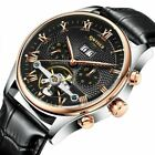 Mechanical Automatic Skeleton Tourbillon Mens Watch Classic Leather Wrist Watch image