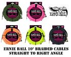 **ERNIE BALL 10' or 18' BRAIDED INSTRUMENT/GUITAR CABLE - 5 COLOR CHOICES** $19.99 USD on eBay