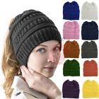 Kyпить Women Messy Bun Hat Knit Ponytail Baggy Beanie Fleece Oversize Winter Ski Cap  на еВаy.соm
