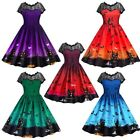 Women's Halloween Fashion Print Long Dress Lace Hollow Multi-color Affordable