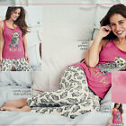 AVON Ladies Womens Novelty Owl Print Pyjamas Set PJs Long Bottoms Size 6 8