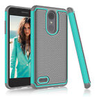 For LG Phone Shockproof Hybrid Hard Case With Tempered Glass Screen Protector