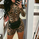 Hot Sexy Women Tiger Leopard Jumpsuit Long Sleeve Bodycon Rompers Clubwear
