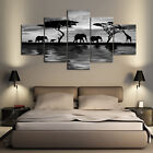 Multi Panel Print Elephant Walk Canvas 5 Piece Picture Wall Art Giraffe Africa