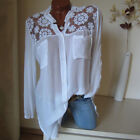 Plus Size Womens Lace Sheer Floral Shirts Tunic Tops Casual Loose Buttons Blouse