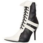 Black White Womens Lace Up Ankle Boots Harley Quinn Halloween Cosplay Costume