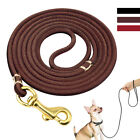 Dog Leash Genuine Leather Puppy Dog Walking Lead Leash with Strong Brass Buckle