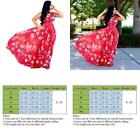 Nuofengkudu Womens Stylish Chiffon V-Neck Printed Floral Maxi Dress With Waisted